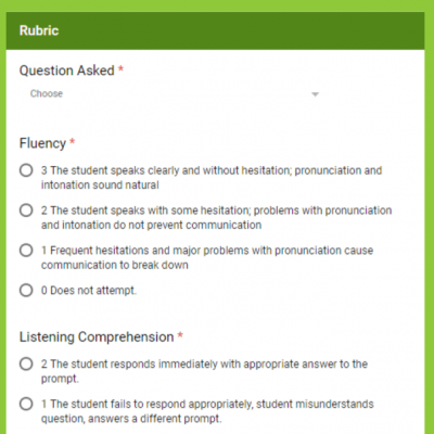 Speaking Assessment Rubrics in Google Forms