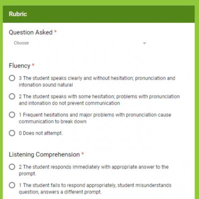 Speaking Assessment Rubrics in Google Forms