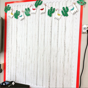 Bulletin board with llama garland