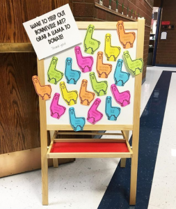 "Llama themed ""giving tree"" - each llama has an idea for ways to support a classroom."