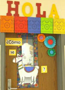 Llama door with papel picado