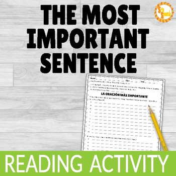 Reading Activity for Spanish:  The Most Important Sentence