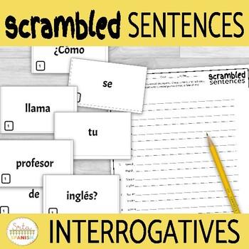 Interrogatives Question Words Scrambled Sentences Activity for Novices