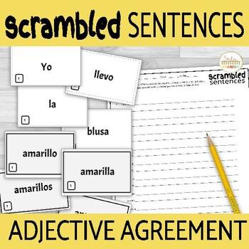 Spanish Noun Adjective Agreement Scrambled Sentence Activity