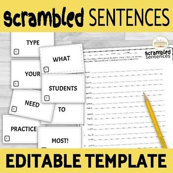 Scrambled Sentences EDITABLE TEMPLATE