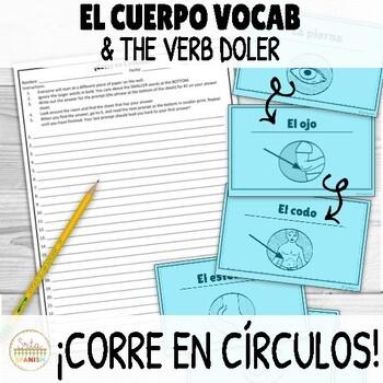 Doler and Body Parts in Spanish ¡Corre en Círculos! Activity with DIGITAL OPTION