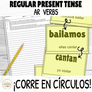 AR Verbs Present Tense ¡Corre en Círculos! Activity with DIGITAL Option