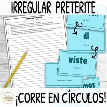 Irregular Preterite Verbs ¡Corre en Círculos! Activity with DIGITAL OPTION