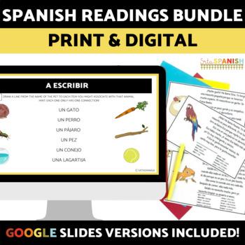 Spanish Reading Gallery Walk BUNDLE with DIGITAL Versions for Google Slides
