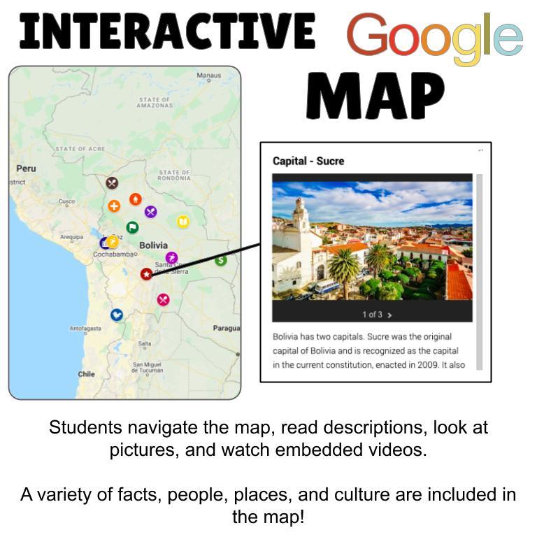 Bolivia Digital Map Activities ENGLISH ONLY - Srta Spanish