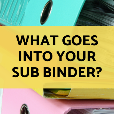 What do you include in your sub binder?