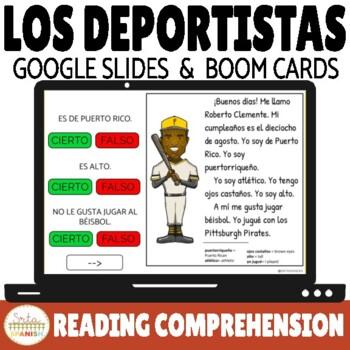 Los Deportes Sports in Spanish Reading Comprehension Google Slides & Boom Cards