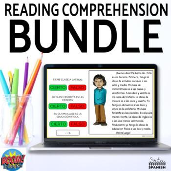 Spanish Reading Comprehension Google Slides & Boom Cards BUNDLE
