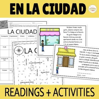En La Ciudad Prepositions in Spanish Reading Activities