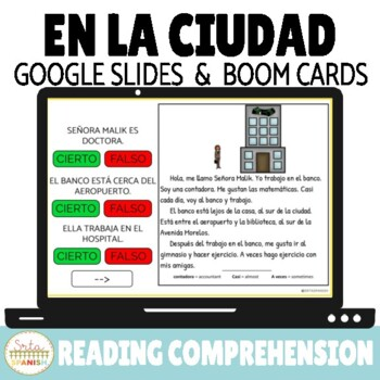 Prepositions in Spanish Reading Comprehension Google Slides & Boom Cards