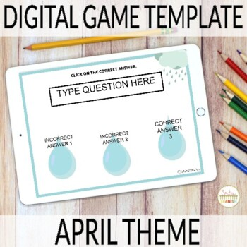 Editable Digital Review Game Template for Spanish Class | APRIL Theme