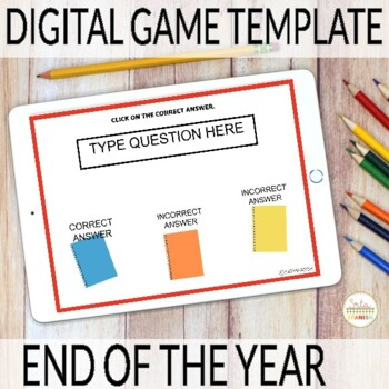 Editable Digital Review Game Template for Spanish | End of Year Theme