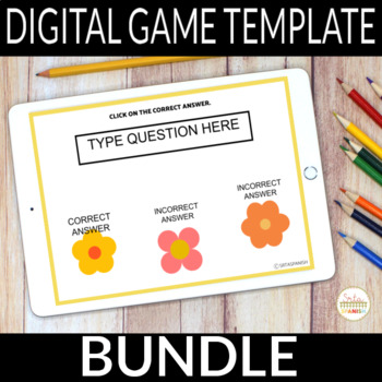 Editable Digital Review Game Template for Spanish Class | BUNDLE